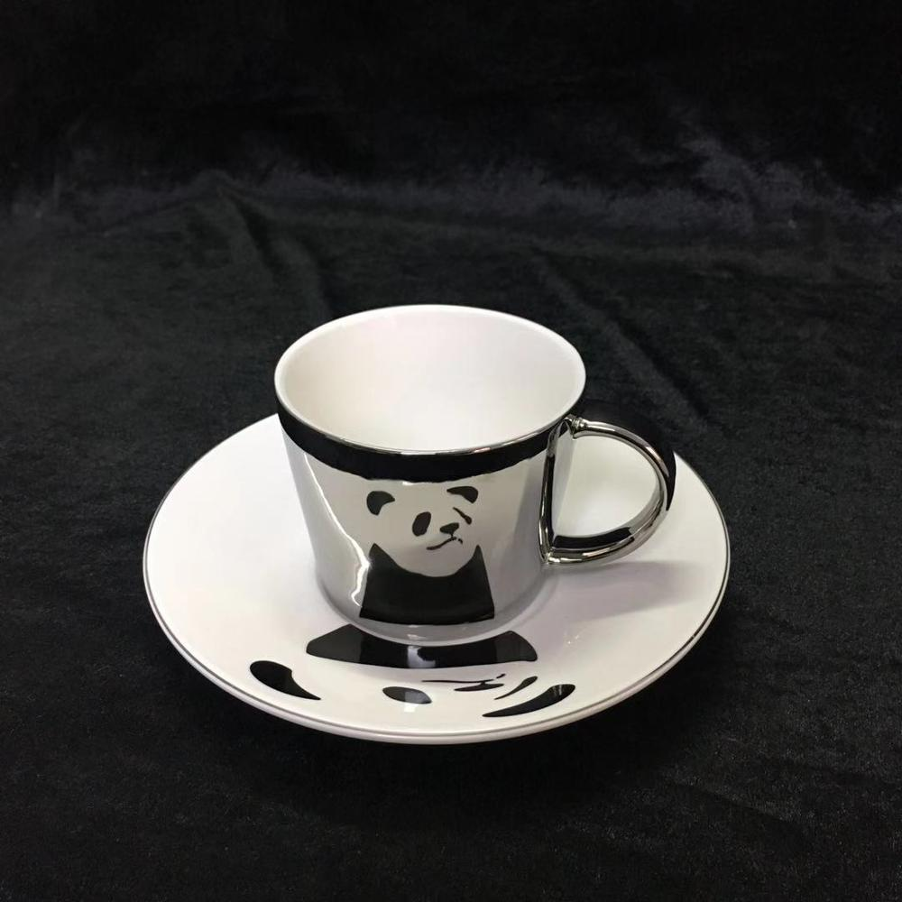 Ceramic Afternoon mirror Tea <font><b>Cups</b></font> And Saucers Bone China Panda <font><b>Coffee</b></font> <font><b>Cup</b></font> With Tray Porcelain Drinkware <font><b>Set</b></font> image