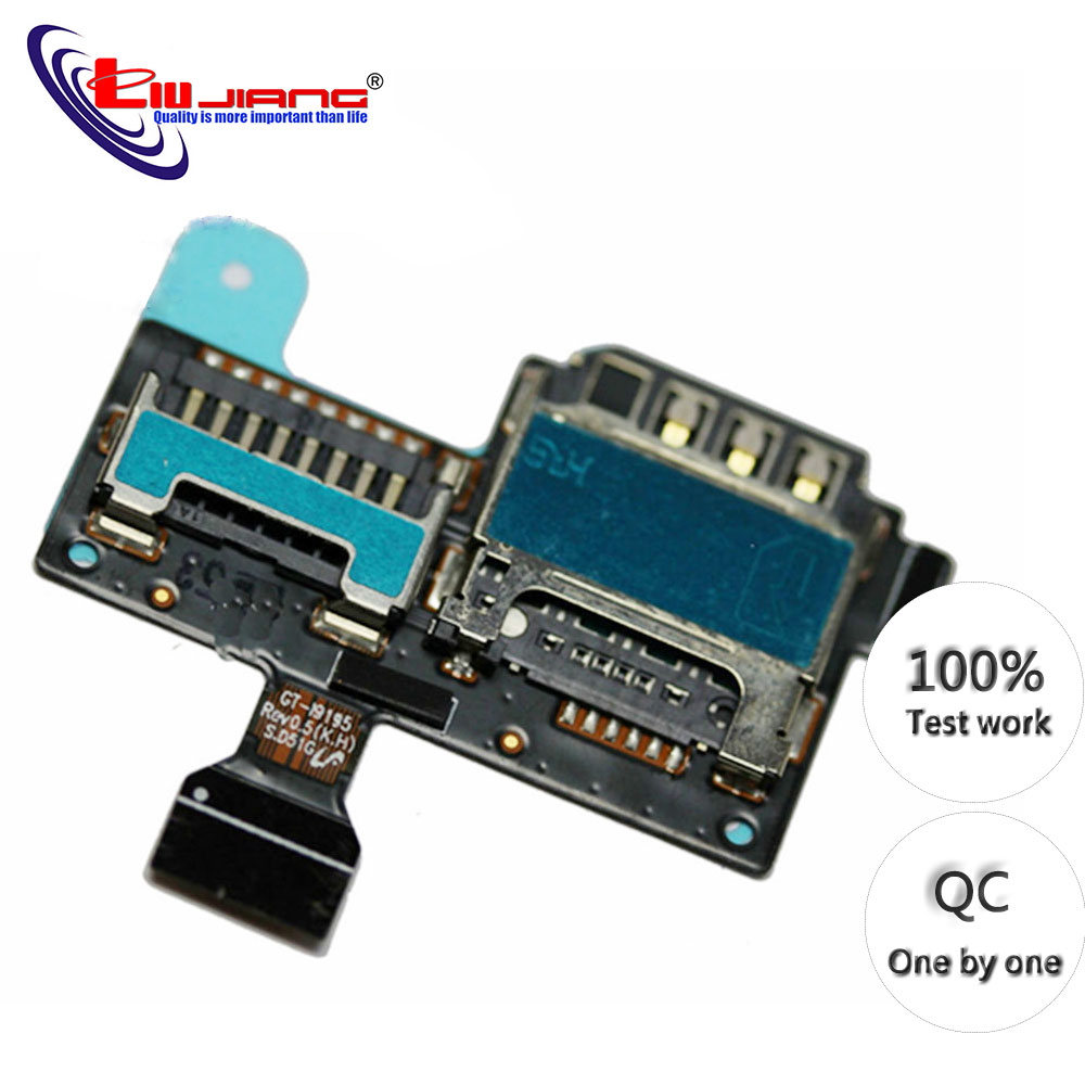 Original For Samsung S4 Mini I9195 I9190 Sim Tray SD Card Micro Reader Holder Flex Cable Sim Slot Replacement Parts