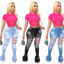 2020 New Design Stacked Jeans Casual Flare Jeans Plus Size P