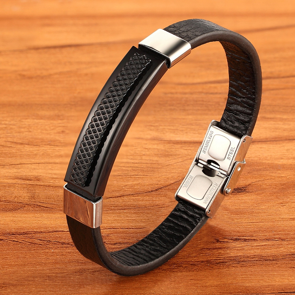 High Quality Rectangular Stainless Steel Multi-color Accessories Combination Men's Leather Bracelet For Handsome Boys Present