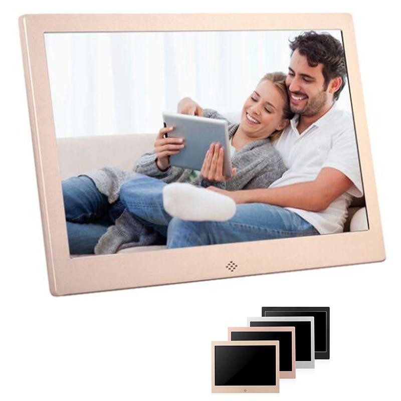 Металлическая светодиодная цифровая фоторамка, 10 дюймов, 720P, видео, музыка, календарь, часы, проигрыватель, разрешение 1024x600