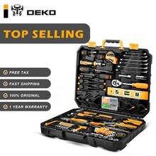 DEKO — Set d'outils manuels pour réparations ménagères de base, kit formé d'une boîte plastique comprenant tournevis, douille, clef, couteau