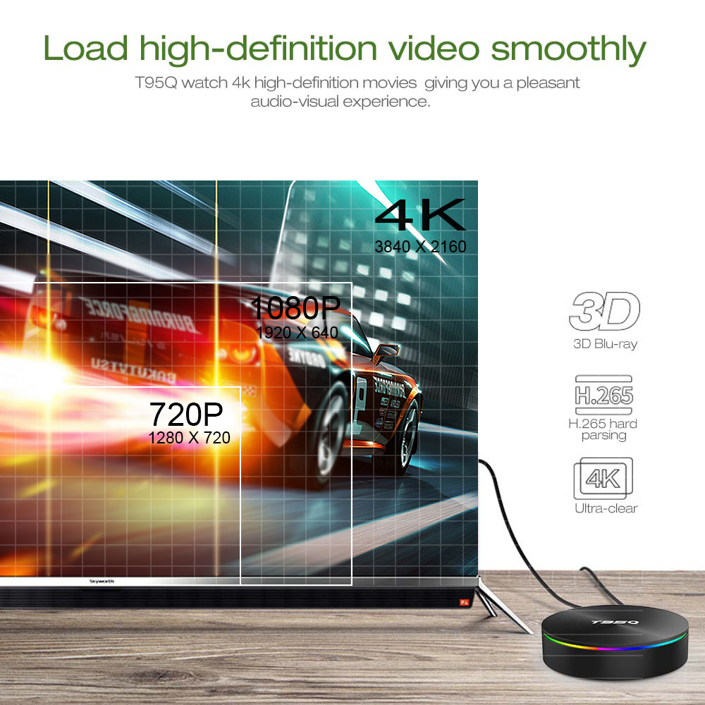 T95Q 4GB 64GB Android 9.0 TV BOX 4K lecteur multimédia DDR3 Amlogic S905X2 Quad Core 2.4G & 5GHz double Wifi BT4.1 100M H.265 Smart TV Box - 6