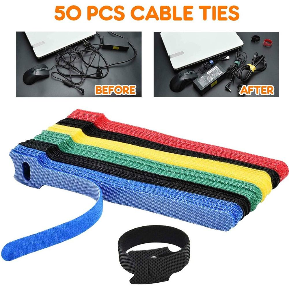 50PCS Reusable Fastening Cable Ties Adjustable Cord Ties Hook and Loop Cords Management Wire Organizer Wraps