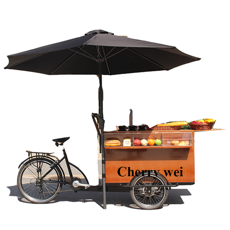 Commercial Coffee Snacks Food Cafe Ice Cream Bike Cart For Small Business