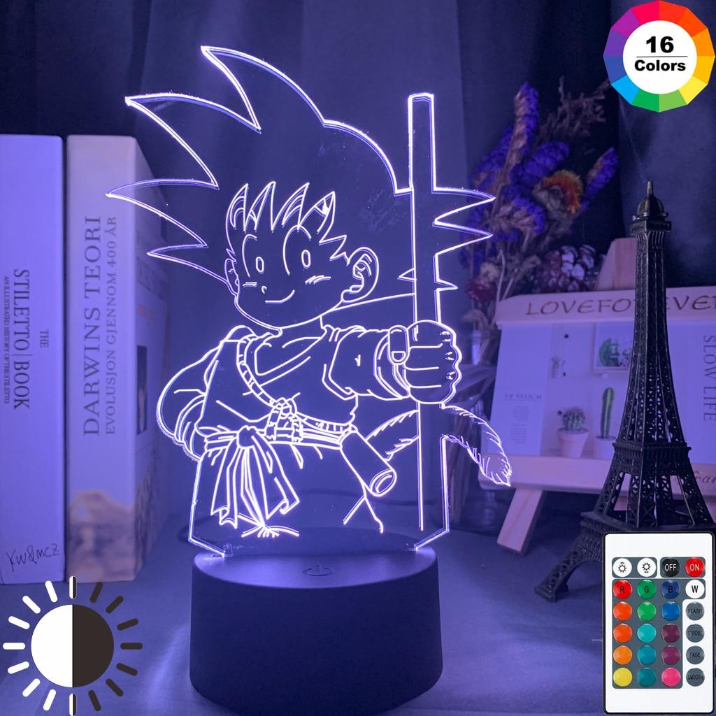 Anime Dragon Ball Young Goku Figure Led Night Light for Kids Bedroom Decor Nightlight Cool Child Birthday Gift Desk 3d Lamp Goku(China)