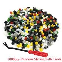 Clipes de pino de plástico para empurrar, rebite de carros pára-choque de carro, conjunto de 1000 peças de acessórios de carro com ferramenta de 6 polegadas