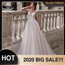 ヴィンテージvネックのウェディングドレス2020 swanskirt長袖アップリケaラインイリュージョン王女の花嫁vestidoデnoiva K150