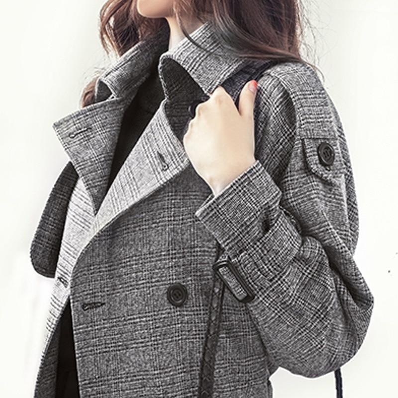 Plaid   trench   coat for women 2019 autumn and winter large size slim fit women long coat winter coat women
