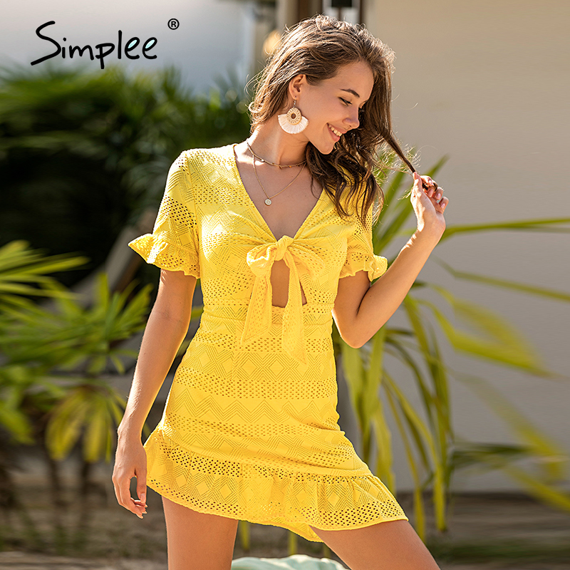 Image 2 - Simplee Hollow out women white dress Geometric a line slim fit wrap sexy dress Ladies chic holiday cotton spring summer dressDresses   -
