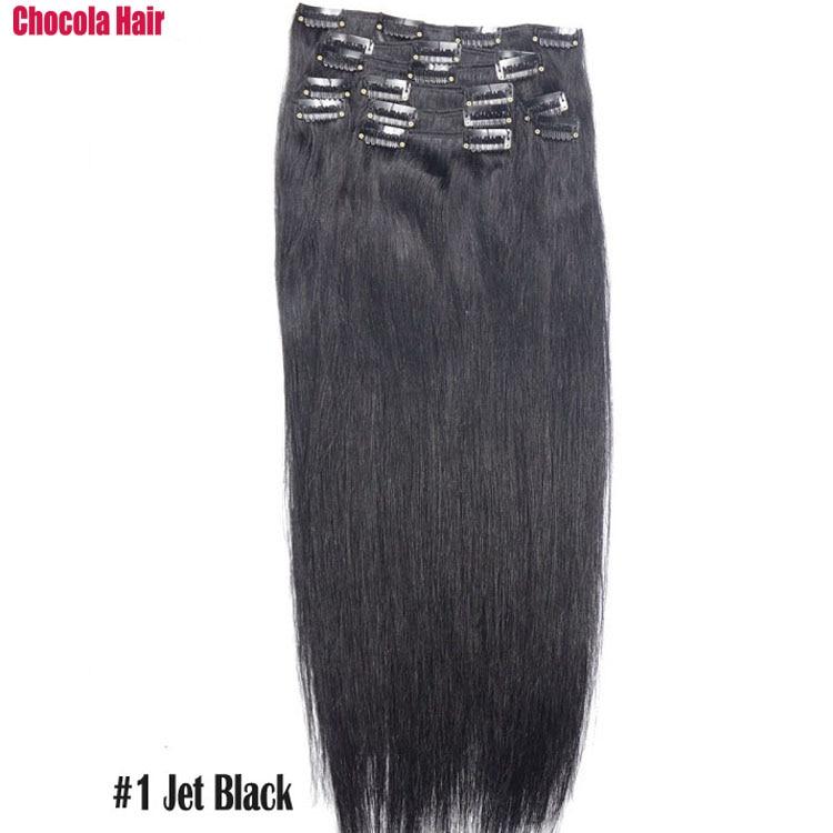 Chocola, бразильские волосы remy на всю голову, 10 шт. в наборе, 280 г, 16-28 дюймов, натуральные прямые человеческие волосы для наращивания на заколках - Цвет: #1