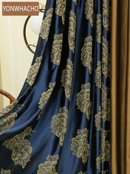 Custom curtains Warm luxury postmodern high-precision jacquard flower blue thick cloth blackout curtain tulle drapes B566