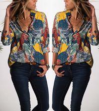 women blouses vintage women shirts long sleeve shirt woman clothes boho plus size tops tropical plants print fashion 2020 new