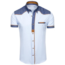 ZOGAA 2019 Zomer Mannen Shirt Casual Patchwork Revers Shirt Mannelijke Korte Mouw Knop Slim Fit Blouse Ademend Kantoor Jurk Shirts