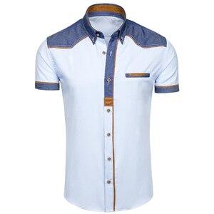 Image 1 - ZOGAA 2019 夏の男性のシャツカジュアルパッチワークラペルシャツ男性半袖ボタンスリムフィットブラウス通気性オフィスドレスシャツ