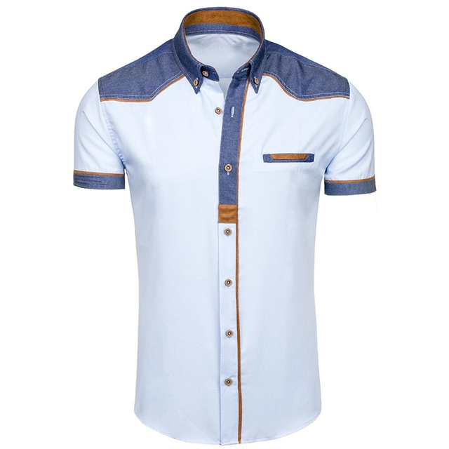 ZOGAA 2019 夏の男性のシャツカジュアルパッチワークラペルシャツ男性半袖ボタンスリムフィットブラウス通気性オフィスドレスシャツ