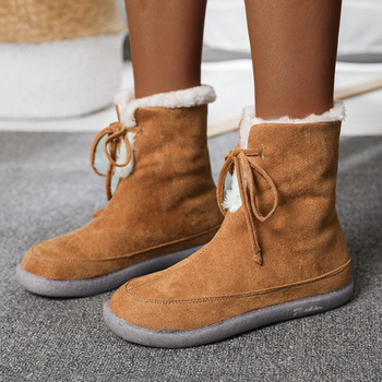 Women Snow Boots 2020 Winter Solid Ladies Mid Calf Boots Lace Up Warm Plush Female Footwear Slip On Round Toe Flat Shoes haraval handmade winter woman long boots luxury flock round toe soft heel shoes elegant casual warm retro buckle solid boots 289