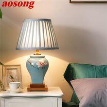 Aosong Керамические настольные лампы синий роскошный латунный