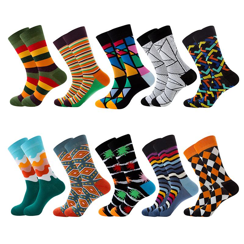 Unisex Happy Socks Retro Design Men Crew Socks Skateboard Socks Harajuku Women Cotton Socks Male Female