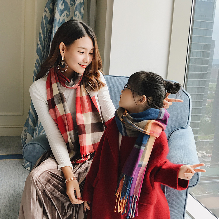 Flexible Parent And Child Scarf Autumn And Winter New Style Faux Cashmere Children Plaid Scarf Plaid Pattern Contrast Color Mixe