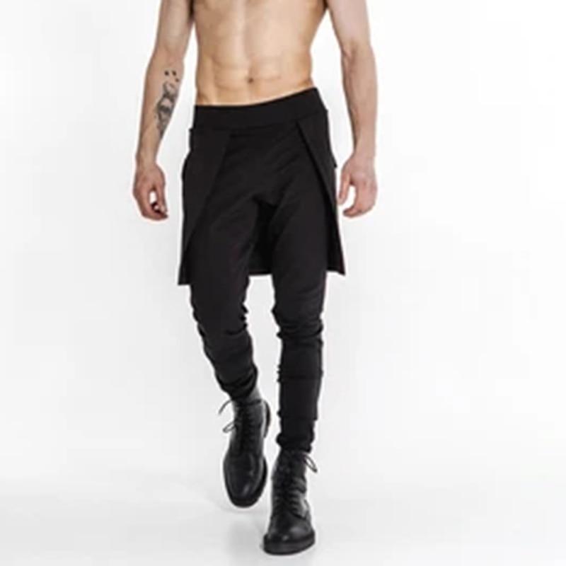 Incerun Pantalones A La Moda Para Hombre Pantalon Negro Color Solido Con Bolsillos Para Correr Falda Irregular 5xl 7 Cerstyle Me