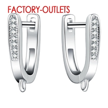 925 Sterling Silver Earrings Micro Inlay Simulated Diamond Zircon Fashion Jewelry Findings Earrings For Women Factory Outlet