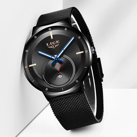 LIGE Mens Watches 2019 New Fashion Casual Black Quartz Watch Men Unique Dial Sport Waterproof Male Clock Relogio Masculino+Box Karachi