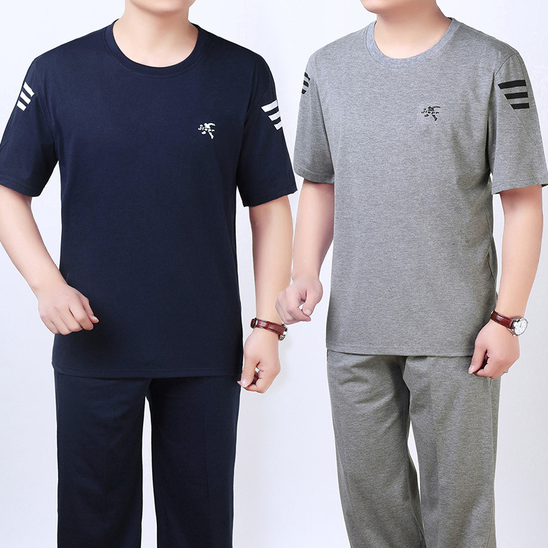 Summer Wear New Style Middle-aged Men Leisure Sports Suit Large Size Loose-Fit Daddy Clothes Short Sleeve T-shirt Long
