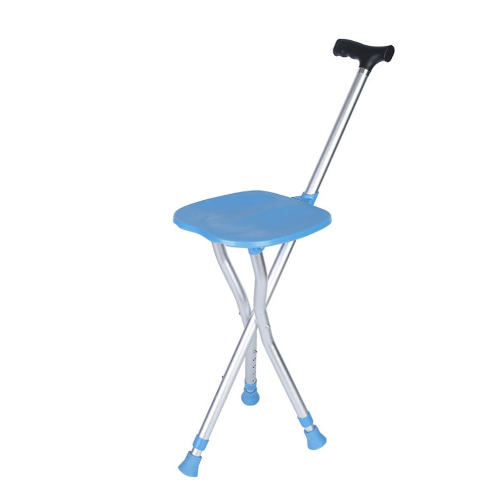 Aluminum Folding Cane Stool Telescopic Adjustment Height Multi-Function Cane Chair Elderly Portable Tools