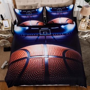 3 unids/set fútbol baloncesto juego de funda nórdica 3D fútbol impreso ropa de cama suave cómodo, textiles para el hogar, suministros