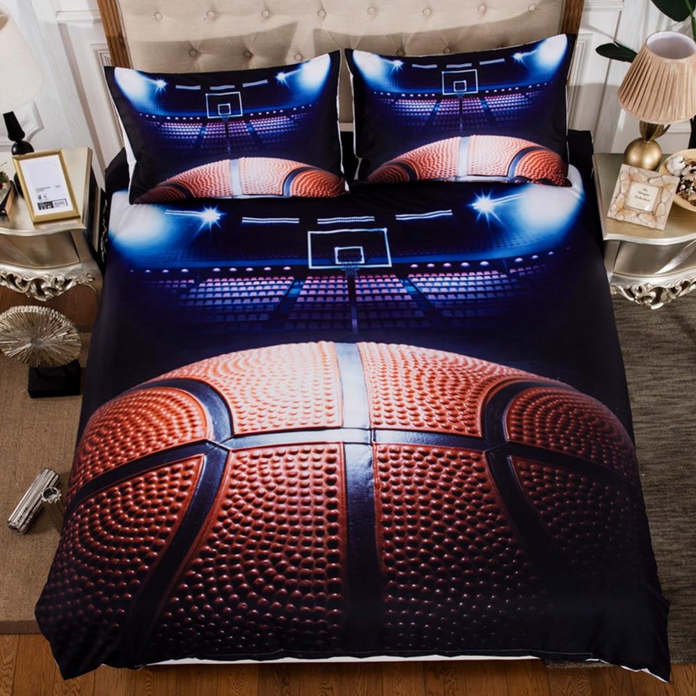 3pcs/set Soccer Basketball Duvet Cover Set 3D Football Printed Bedding Set For Single Bed Comfortable Soft Home Textile Supplies