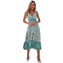 Женское платье с цветочным принтом без рукавов v образным вырезом