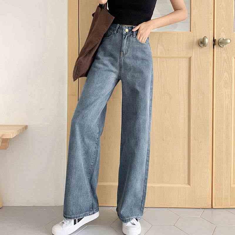 Pantalones Vaqueros Vintage Para Mujer Jeans Largos Elasticos De Pierna Ancha Informales Fondo Para Novio Pantalones Vaqueros Aliexpress