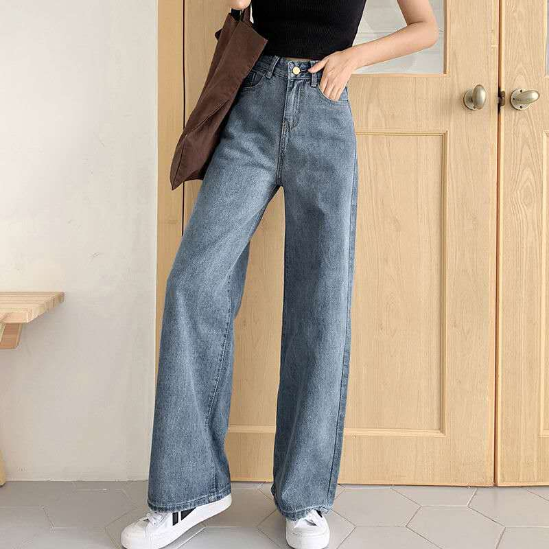 Vintage Jeans For Women Denim Flare Stretch High Wasit Denim Long Pants Wide Leg Casual Trousers  Boyfriend Bottom  Jeans