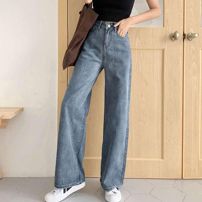 Vintage Jeans For Women Denim Flare Stretch High Wasit Denim Long Pants Wide Leg Casual Trousers  Boyfriend Bottom  Jeans