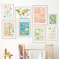 Number Animal Map Bird Scissors Camera Palette Wall Art Canvas Painting Nordic Posters And Prints Wall Pictures kids Room Decor