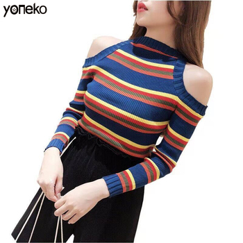 Sweater Sexy Women Sweater Winter off-shoulder Sweater Female Knitted Women Sweater Pullover Female Tricot High collar Femme beige cable pattern off shoulder pullover sweater