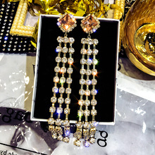DREJEW Long Tassel Gold Rhinestone Statement Dangle Earrings 2019 Alloy Drop for Women Wedding Fashion Jewelry HE0551