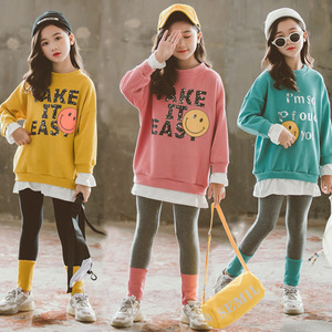 Image 1 - Girls Fall Outfits Fashion Children Clothes Set 2020 Spring Cotton Pullover Sweatshirts + Leggings 3 Colors Clothes for Girls