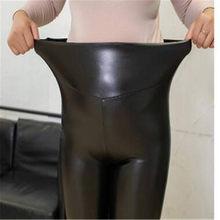 Mulher oversized inverno à prova dwaterproof água elástico cintura estiramento mais veludo grosso pu lápis calças senhora alta quente leggings calças