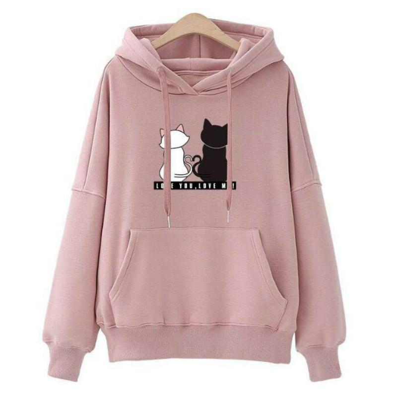 Women Hoodies Pullover 2019 Autumn Winter Solid Harajuku Casual Loose Sweatshirts Cartoon 2Cat Printing Pink Hoodie Fashion Tops