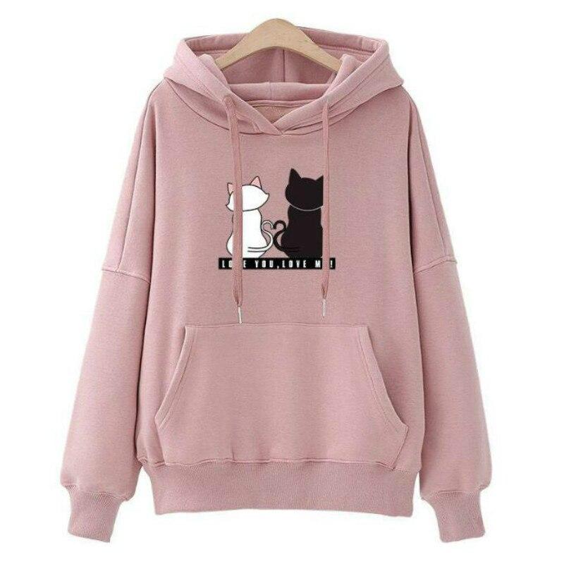 Womens Hoodies Pullover Winter Coat Women Cartoon Sweatshirts Pink Hoodie  Hoodies Women  O-Neck Regular Tops Tee