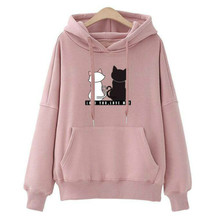 Womens Hoodies Pullover Winter Coat Women Cartoon Sweatshirts Pink Hoodie  O-Neck Regular Tops Tee