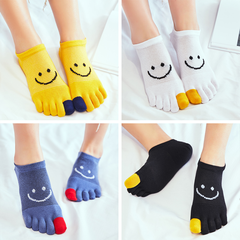 Summer Toe Socks Women Cotton Cute Thin Japanese No-Show Socks 5 Toe Cotton Socks smiley face slipper woman socks