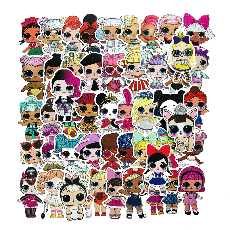 50pcs LOL Stickers Personality Lols Dolls Stickers Children's PVC Graffiti Stickers Suitcase Car Boot Guitar Waterproof