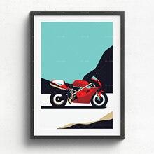 Ducati 916 drukowane na naturalną biel piękne góry płótno, prezent, ilustracja, plakat, nadruk z samochodem, uroziny, wydruk ś