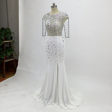 Custom made White Mermaid Prom Dresses Side Split Crystal Be