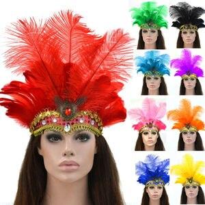 Indian Crystal Crown Feather Headband Party Festival Celebration Headdress Carnival Headpiece Headgear Halloween 2019 New(China)