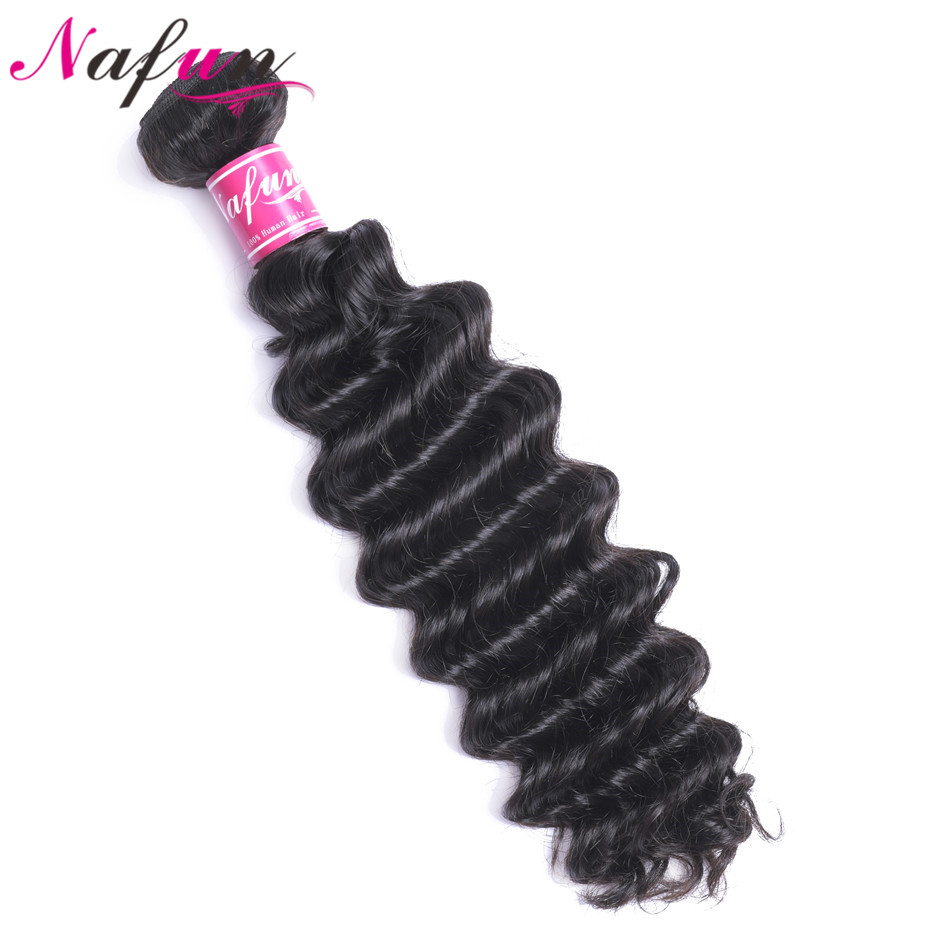 NAFUN Hair Deep Wave Human Hair Bundles Natural Color Peruvian Hair Bundles Non-Remy Hair Extensions Free Shipping