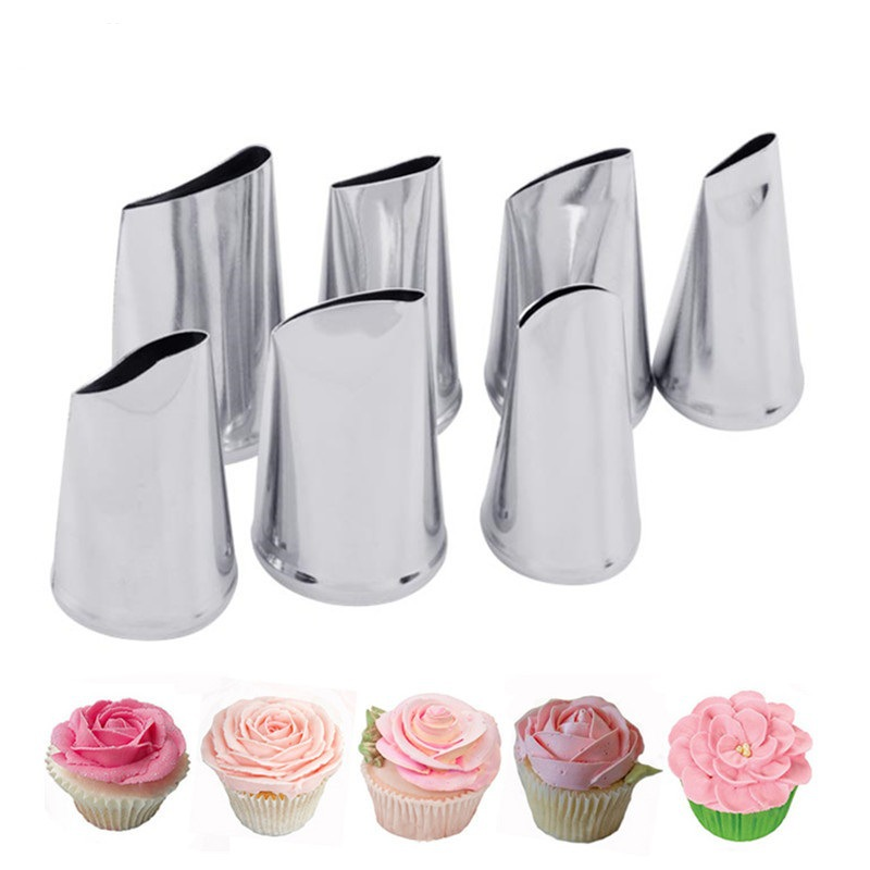 Cross Border Hot Sales 304 Stainless Steel 7-Piece/Case Rose Nozzle Pastries Tool Cake Set Decoration Tool